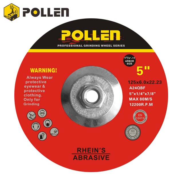 "Depressed Center Grinding Wheel 5""x1/4"" 7/8""-11 Arbor Size 7/8"" A24Q"